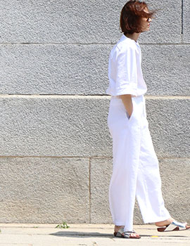 out of stock  Wide linen pants white (women)