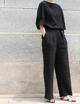 out of stock  Wide linen pants black (women)